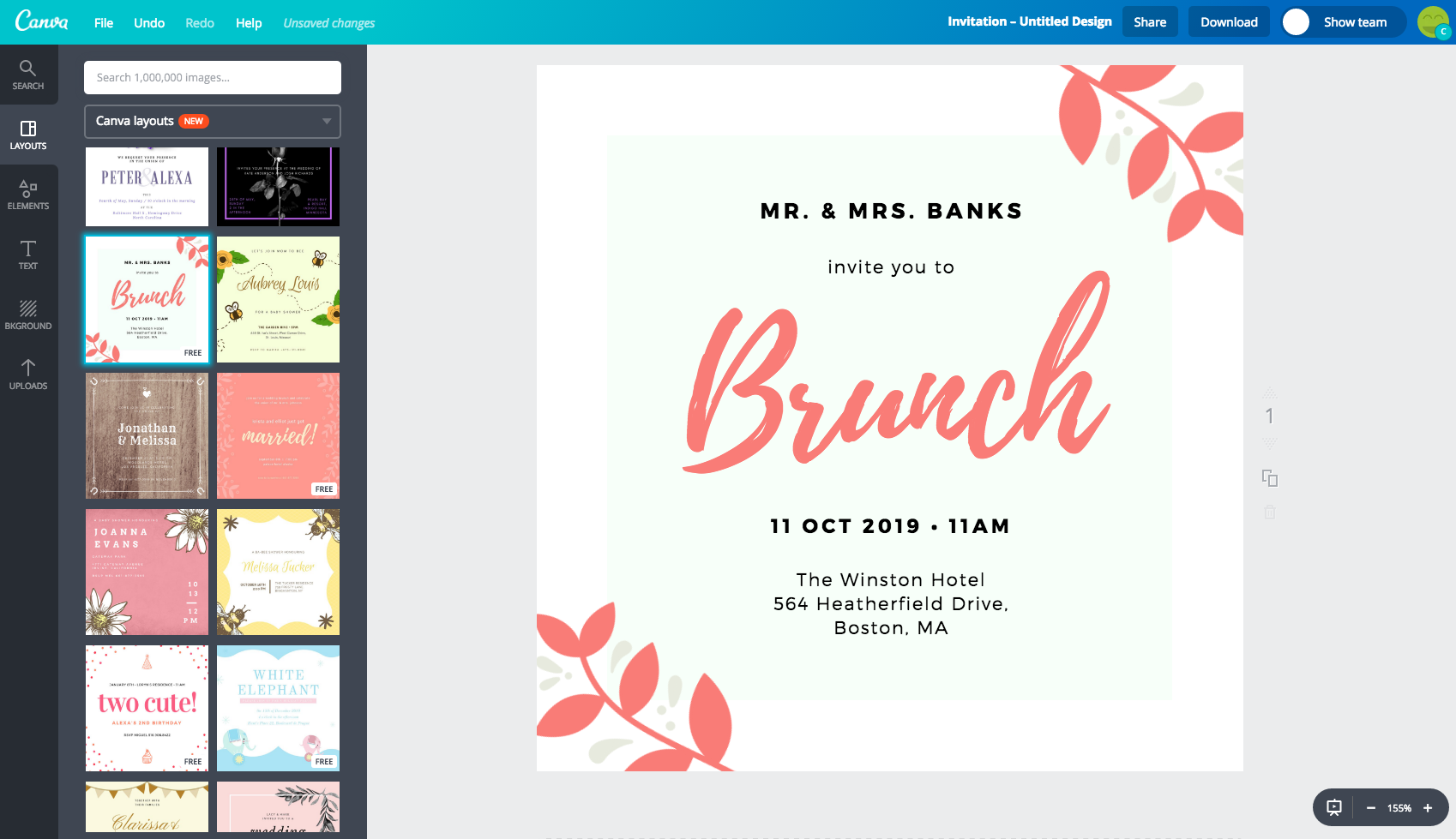 perfect invitation in Canva