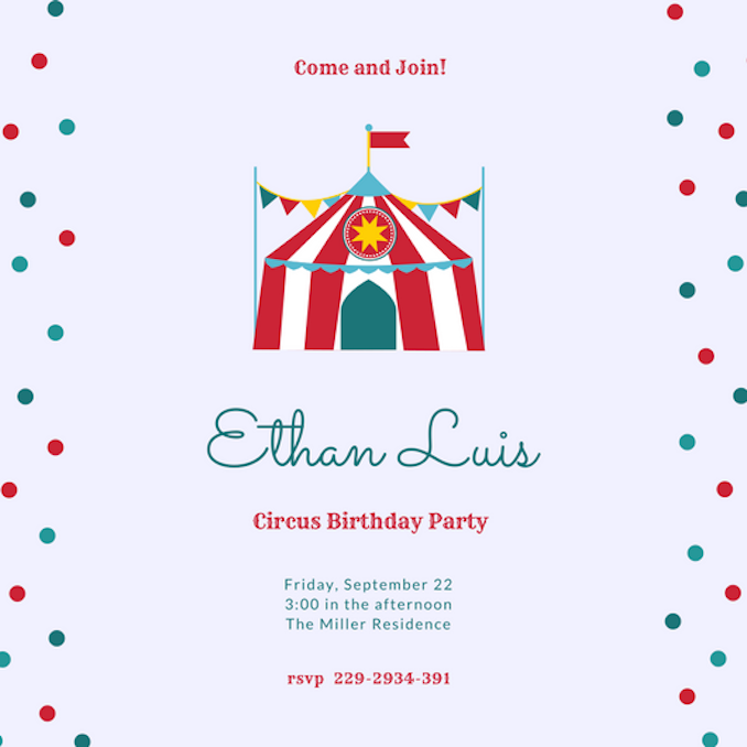 Invitation maker design your own custom invitation cards circus invitations stopboris Choice Image