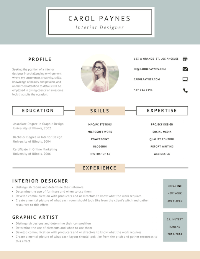modern resumes - Interior Design Resume Sample