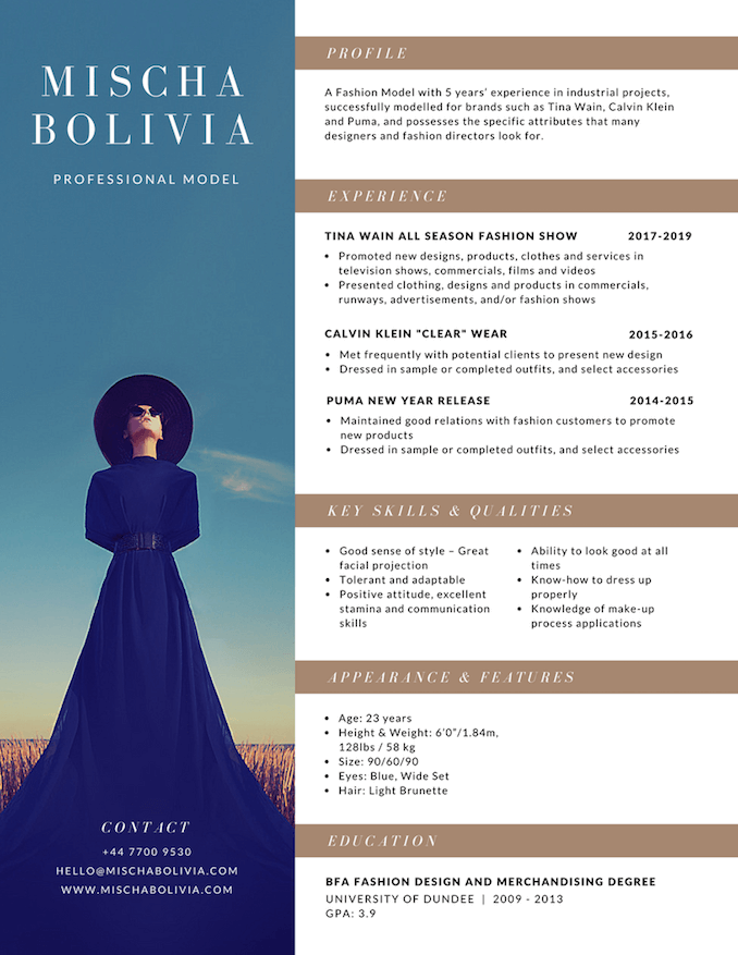 photo resumes - Fashion Designer Resume Sample