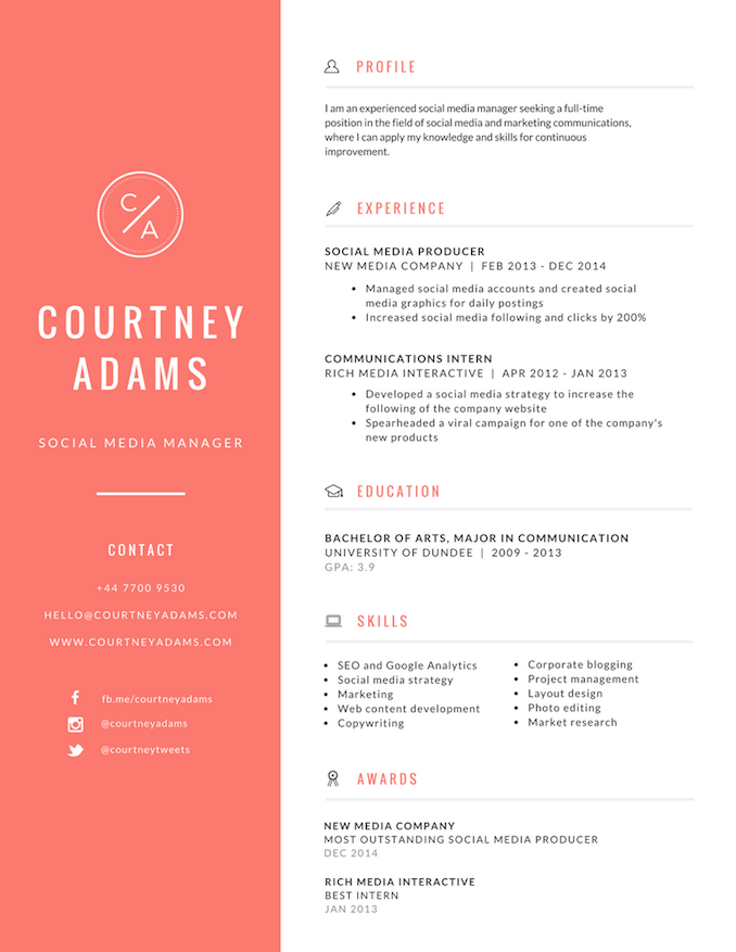 High Quality Professional Resumes  Resume Designer Online