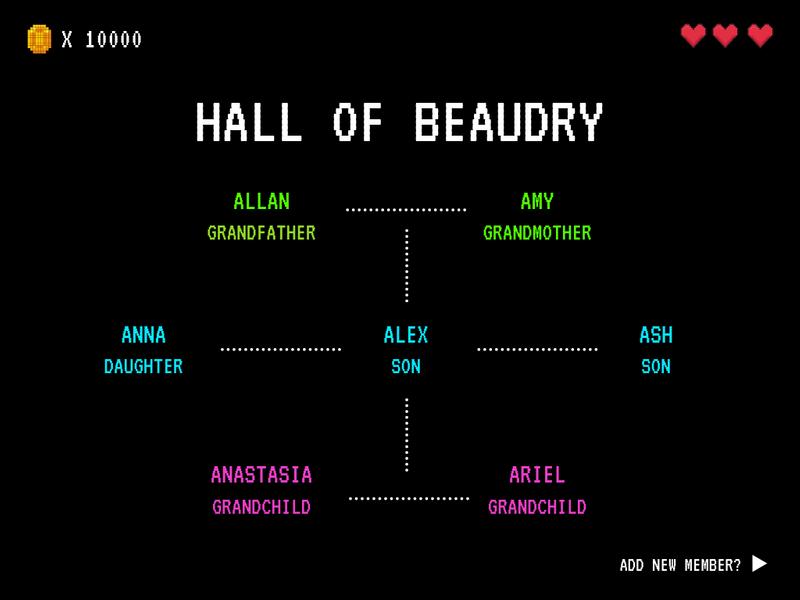 Black and Neon Pixel Art Retro Family Tree