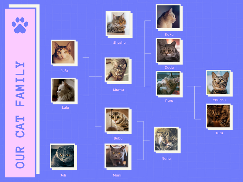 Purple and Pink Broken Grid Cool Family Tree