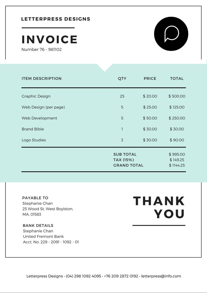 Free Online Invoice Maker Design A Custom Invoice In Canva - Pdf invoice maker everything 1 dollar store online