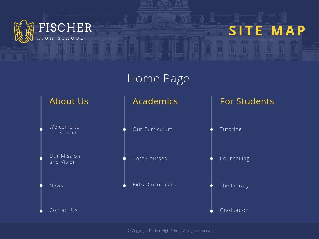 Blue and Yellow School Site Map Chart