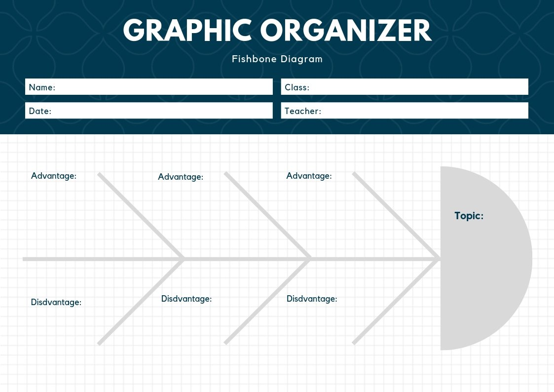 Dark Blue and White Grid Fishbone Graphic Organizer