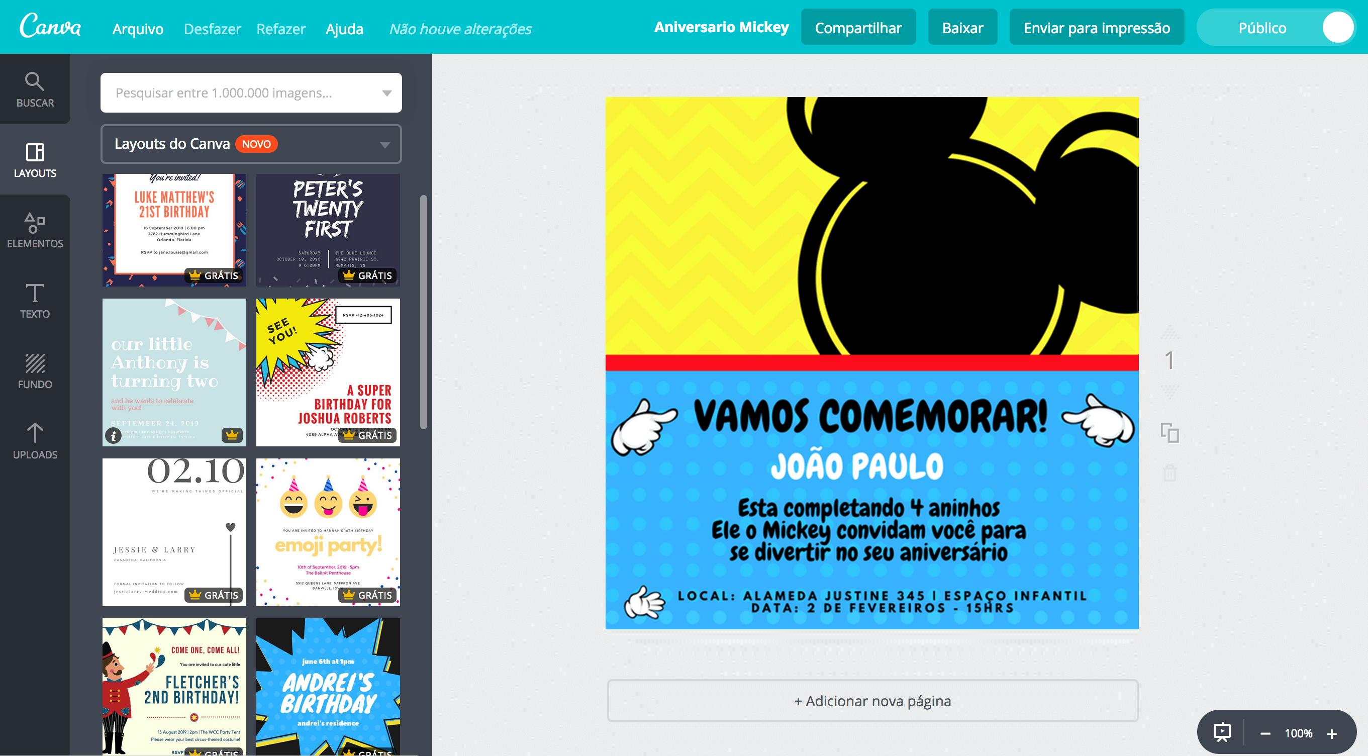 Criar Convite De Aniversário Do Mickey Online Canva