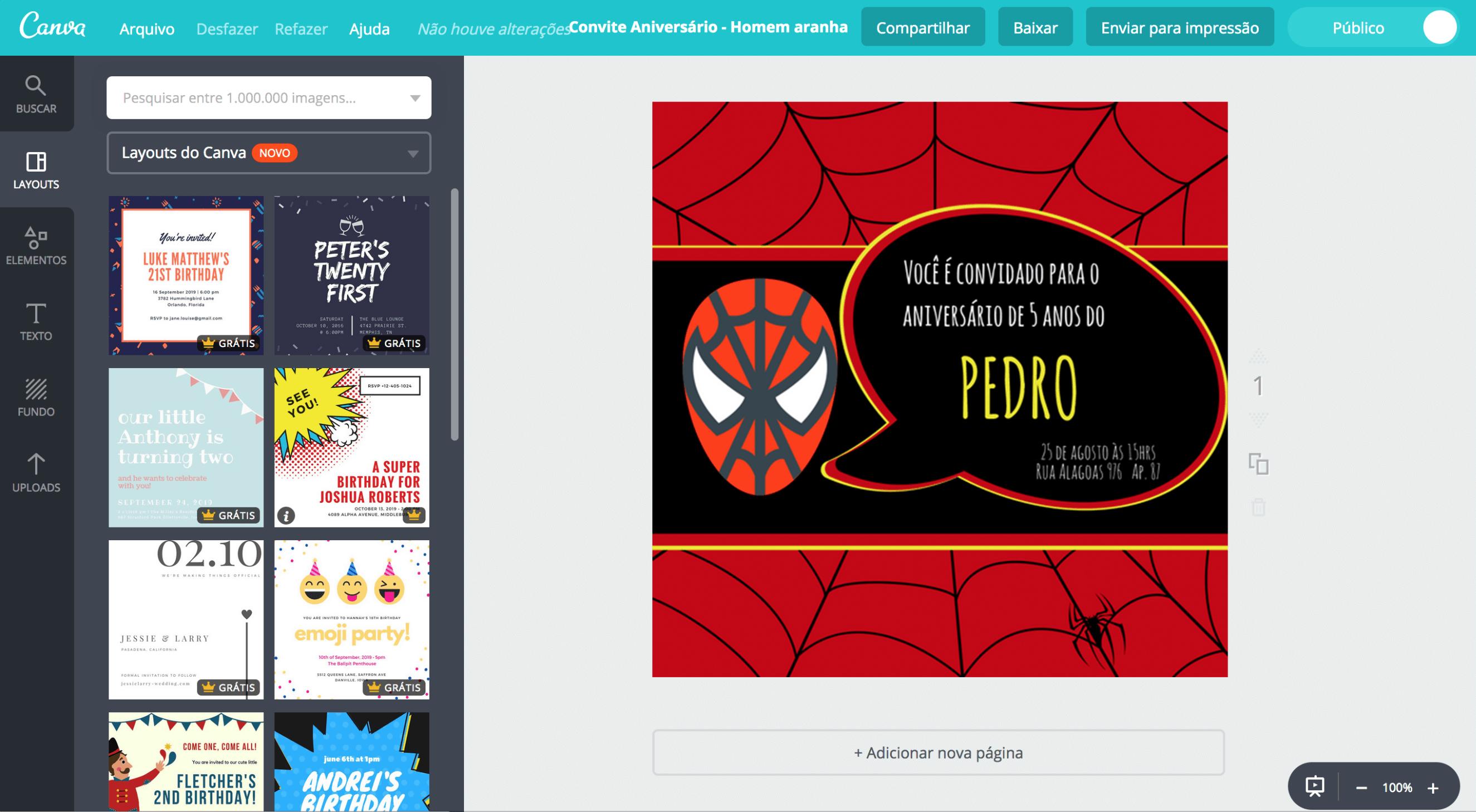 Convite de aniversário Homem Aranha