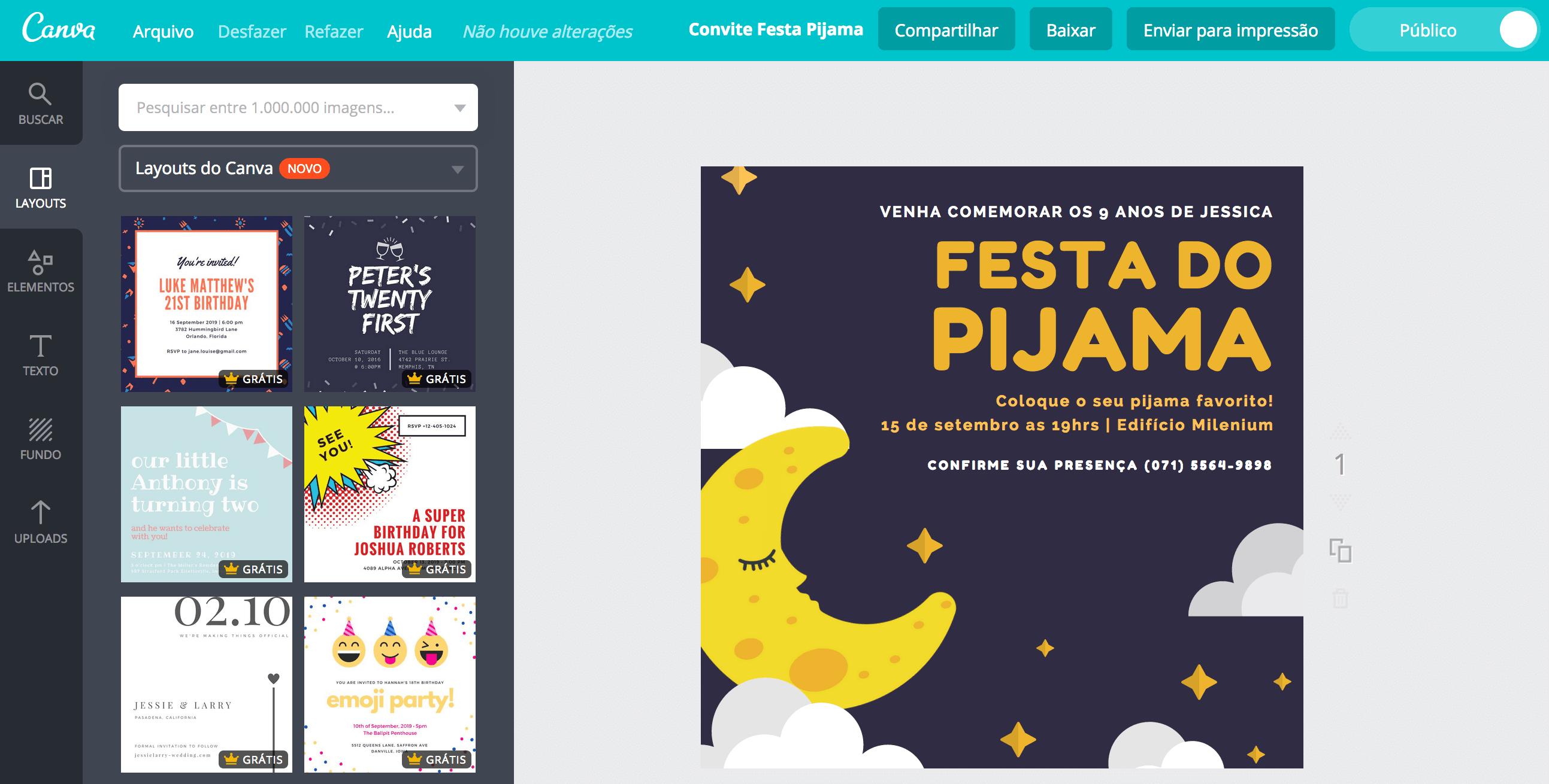 Criar Convite Para Festa Do Pijama Online Canva