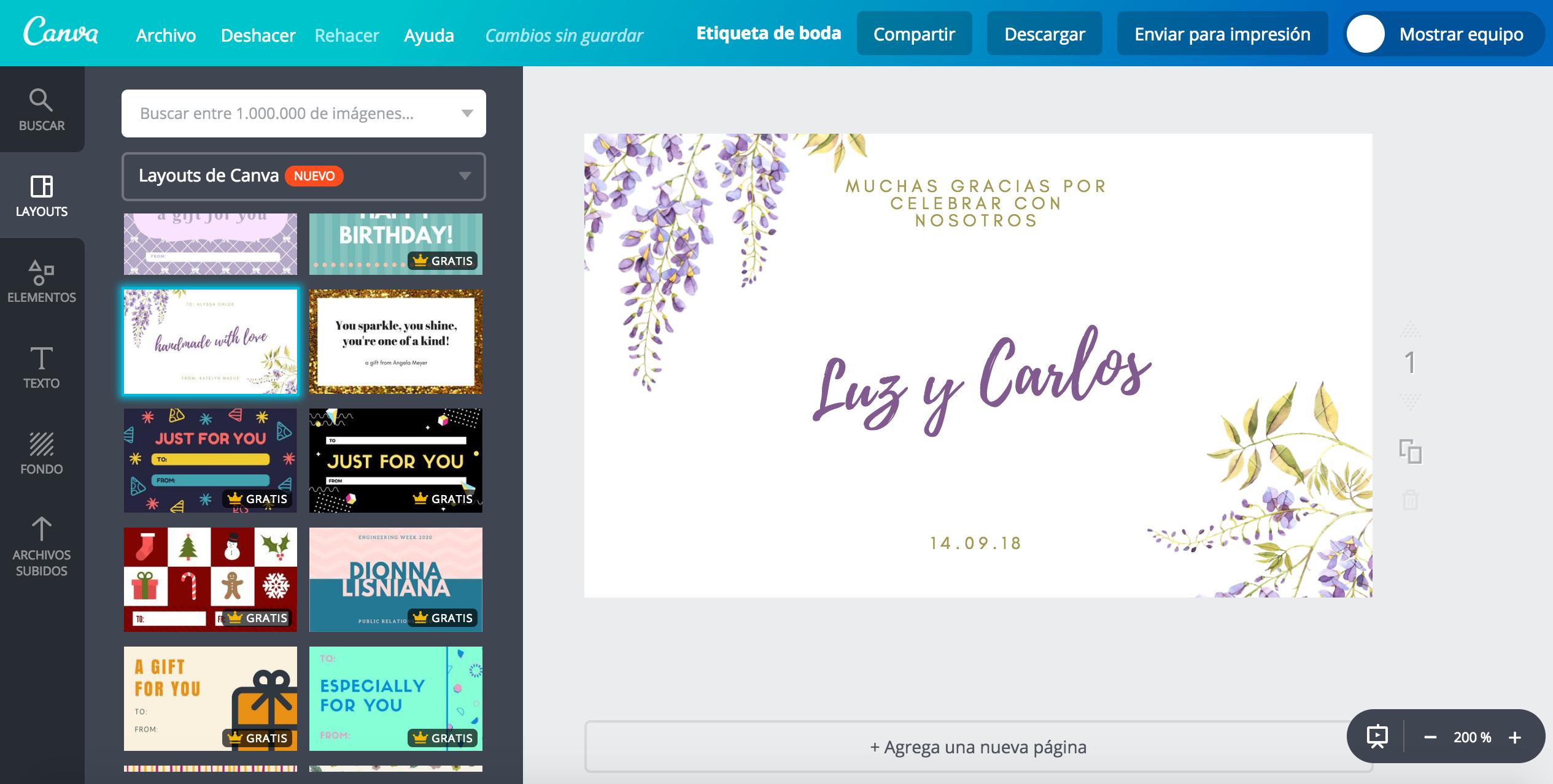 Crea etiquetas para boda online gratis - Canva