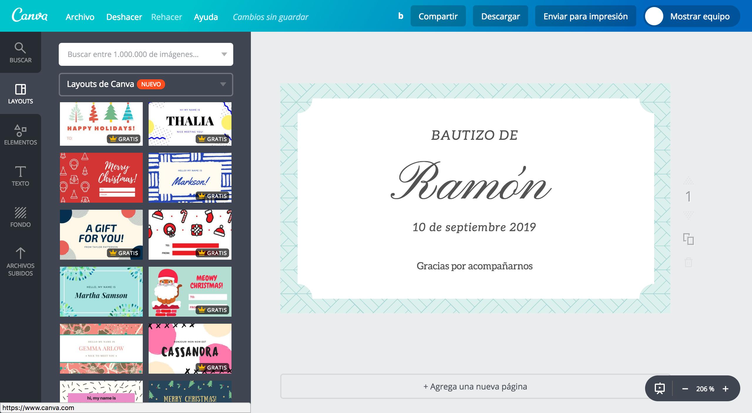 Diseña etiquetas para bautizo online gratis - Canva