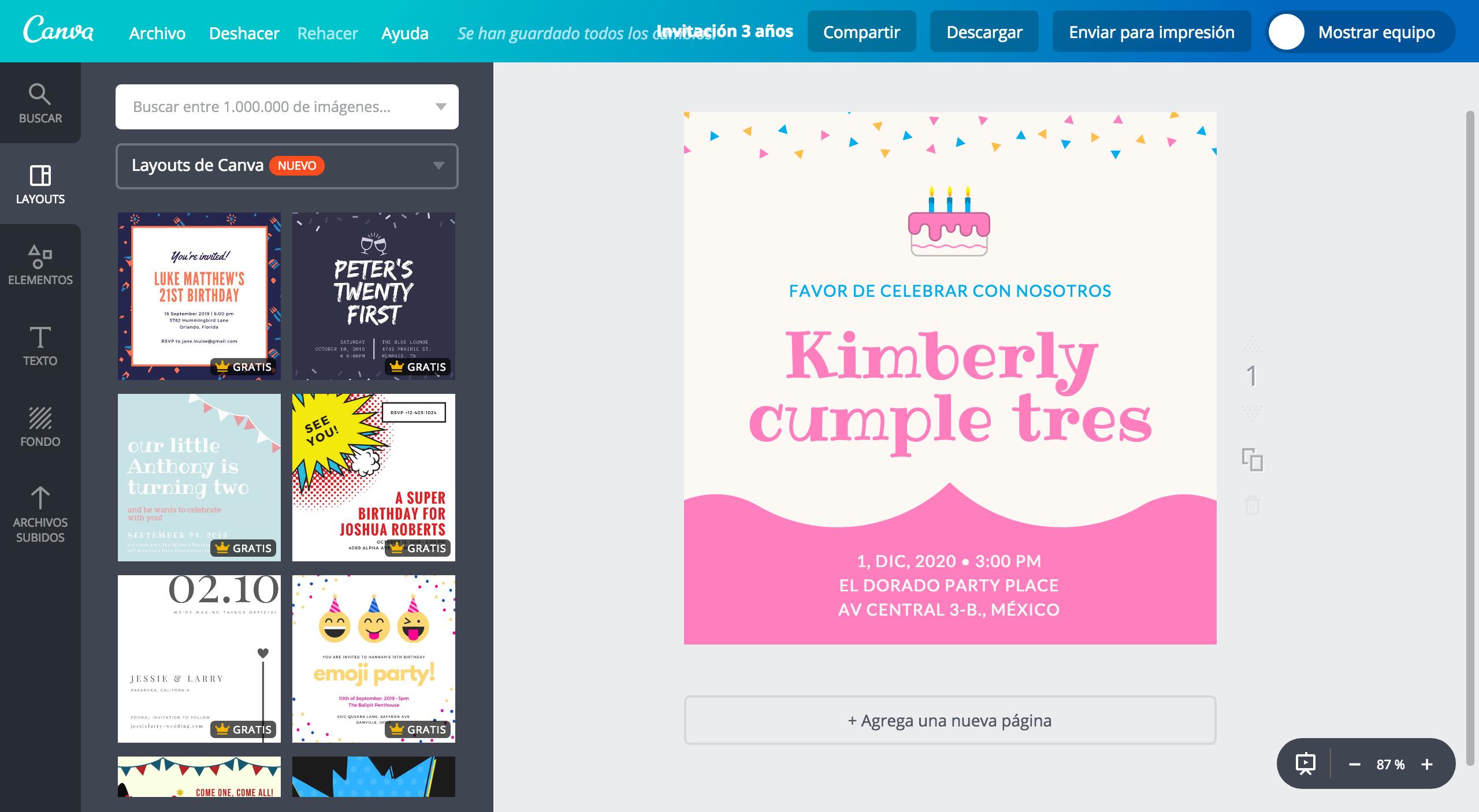 Diseña Invitaciones Para Presentación De 3 Años Canva