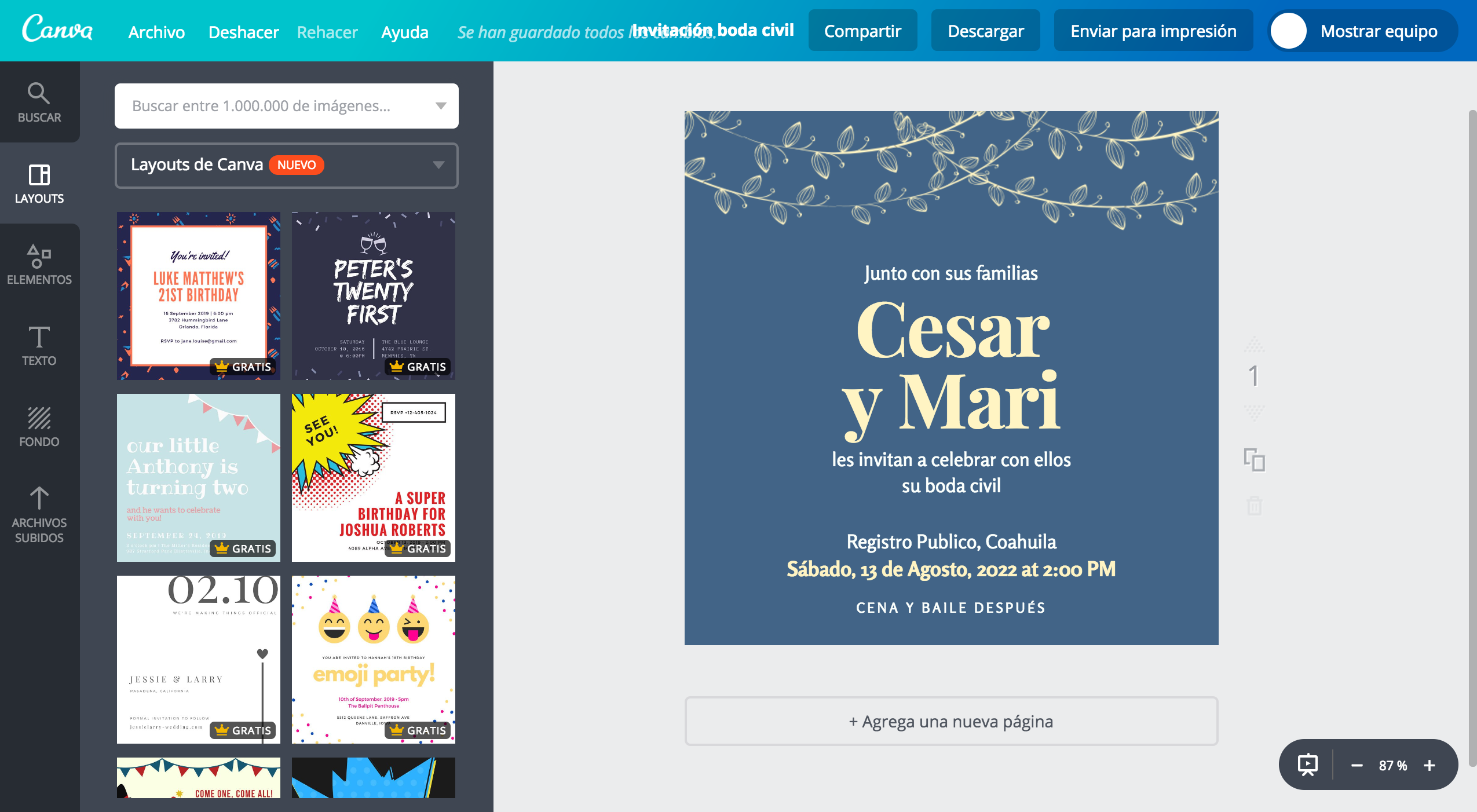 Crea Invitaciones Para Boda Civil Online Gratis Canva