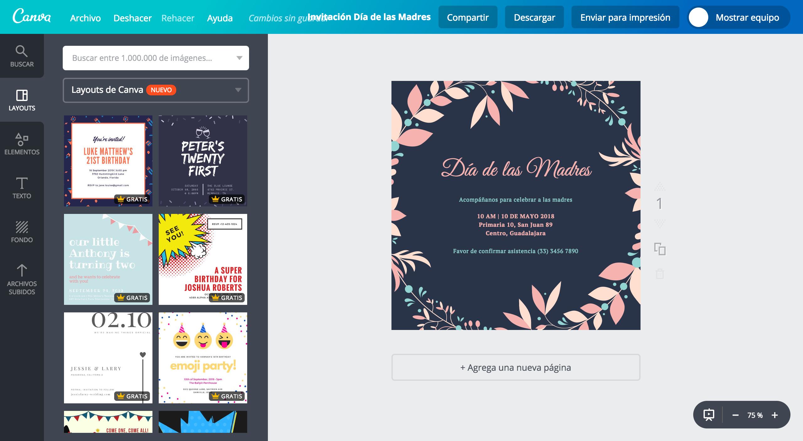 Crea Invitaciones Para El Día De Las Madres Gratis Canva