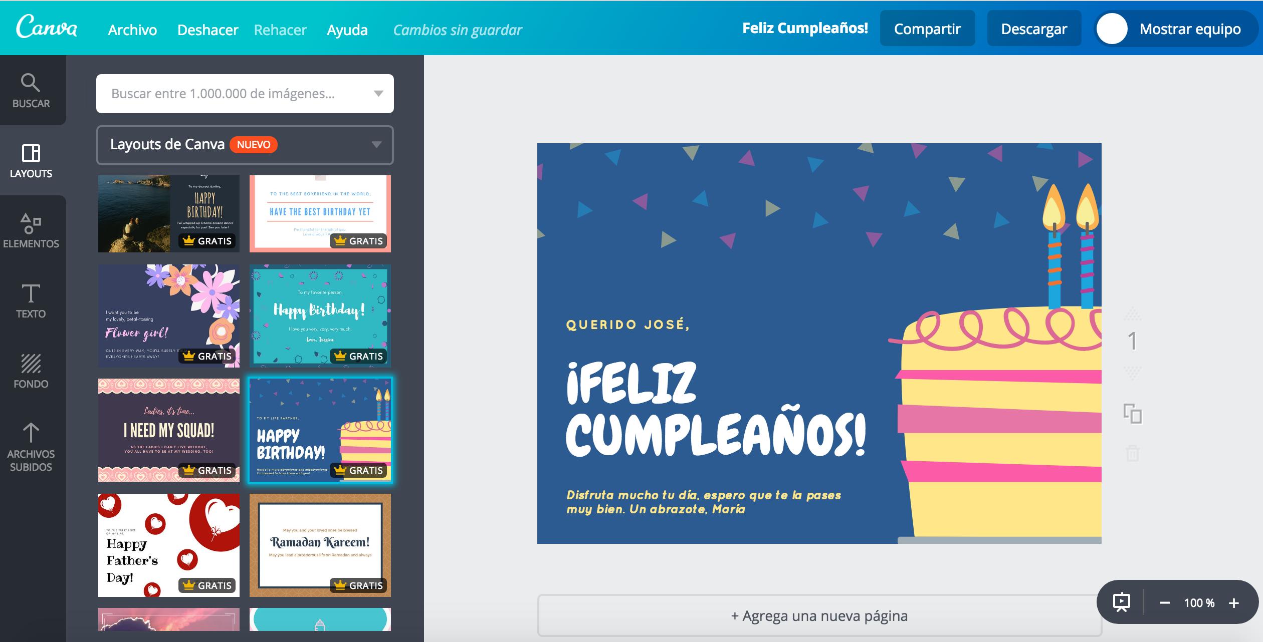 Crea tarjetas de cumpleaos personalizadas gratis Canva