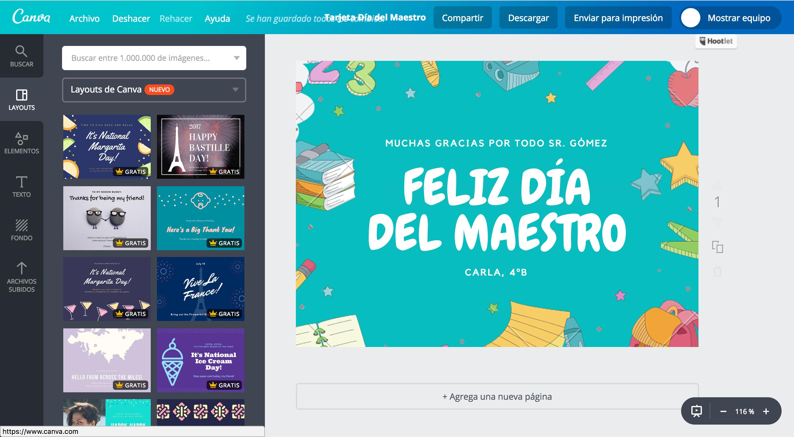 Crea tarjetas del Día del Maestro online gratis - Canva