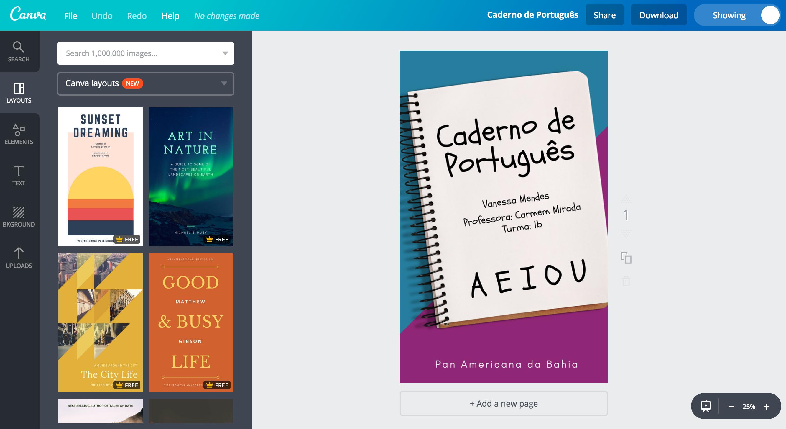 Capa para caderno de português