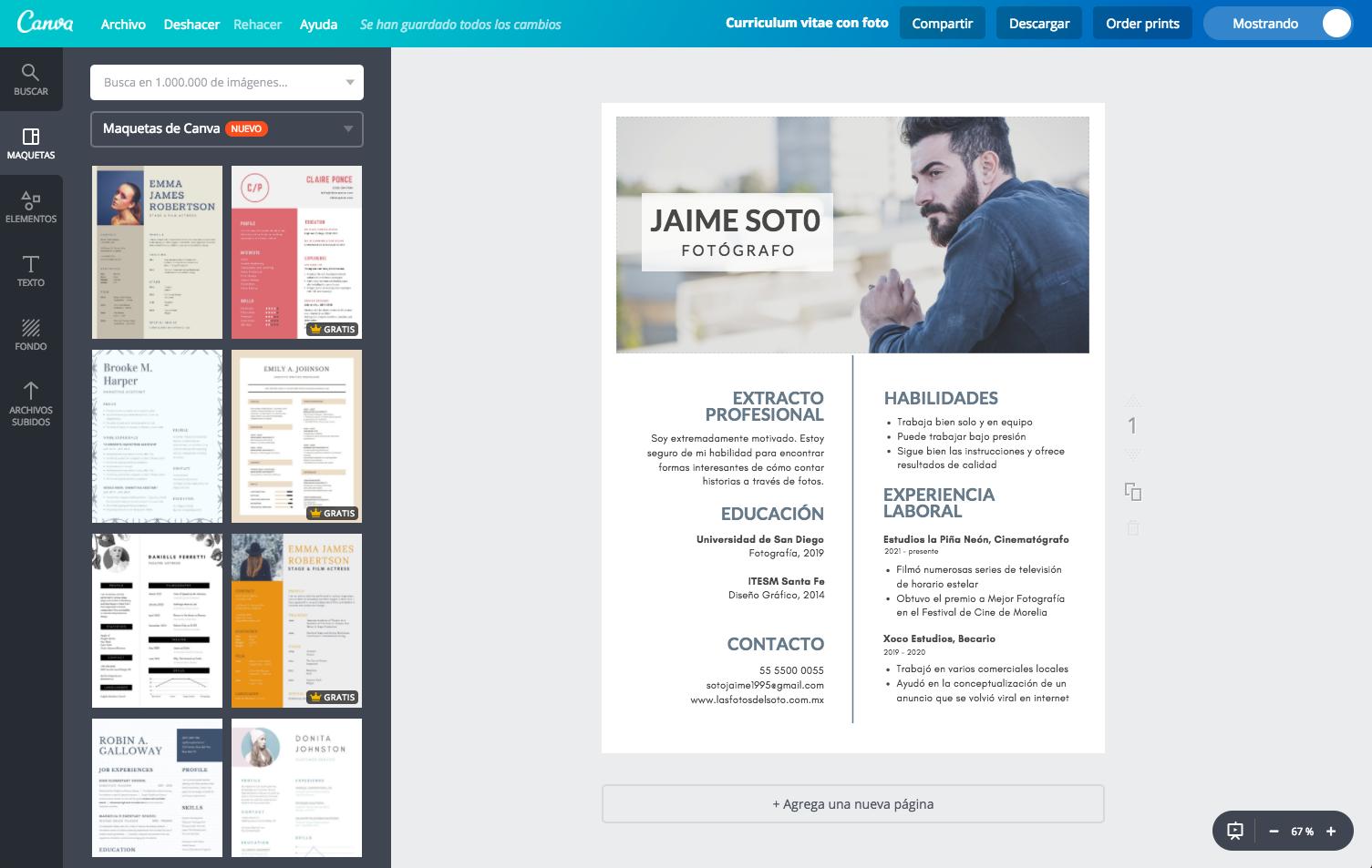 Diseña un currículum vitae con foto online gratis - Canva