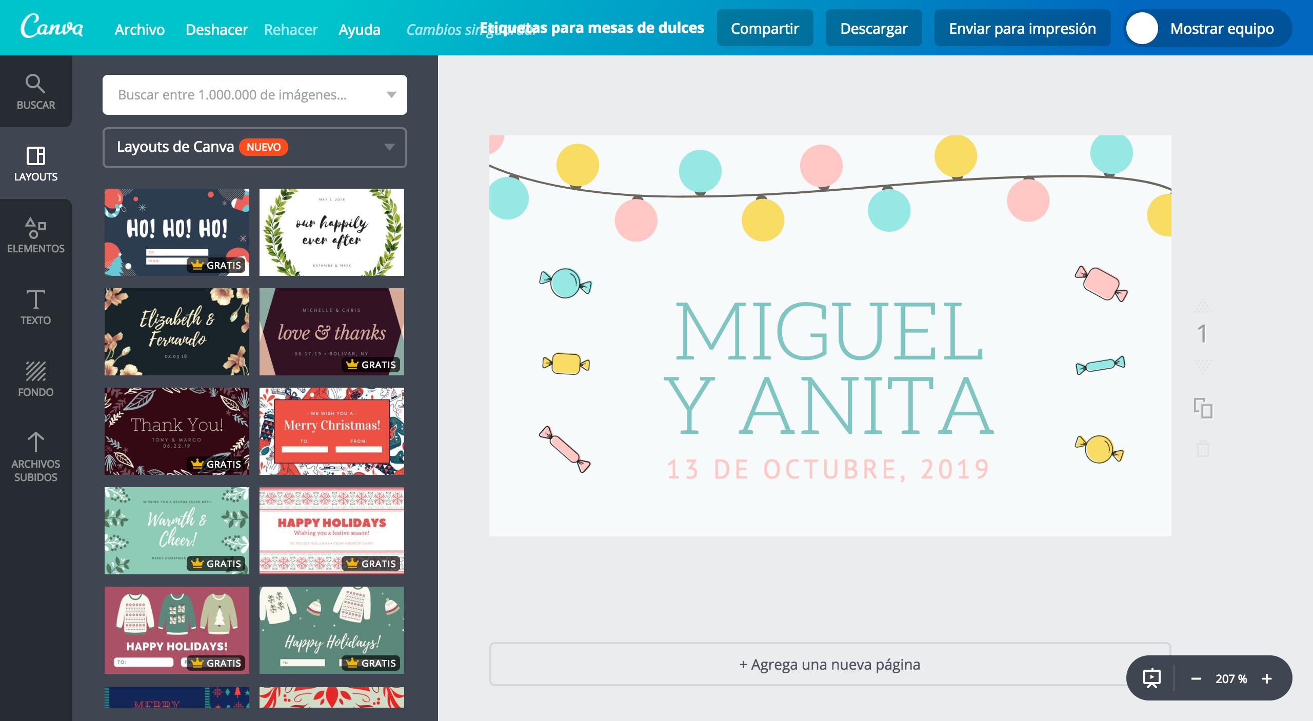 Diseña etiquetas para mesa de dulces online gratis - Canva