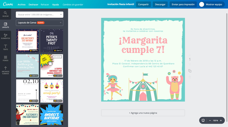 Crea Invitaciones Para Fiestas Infantiles Gratis Canva