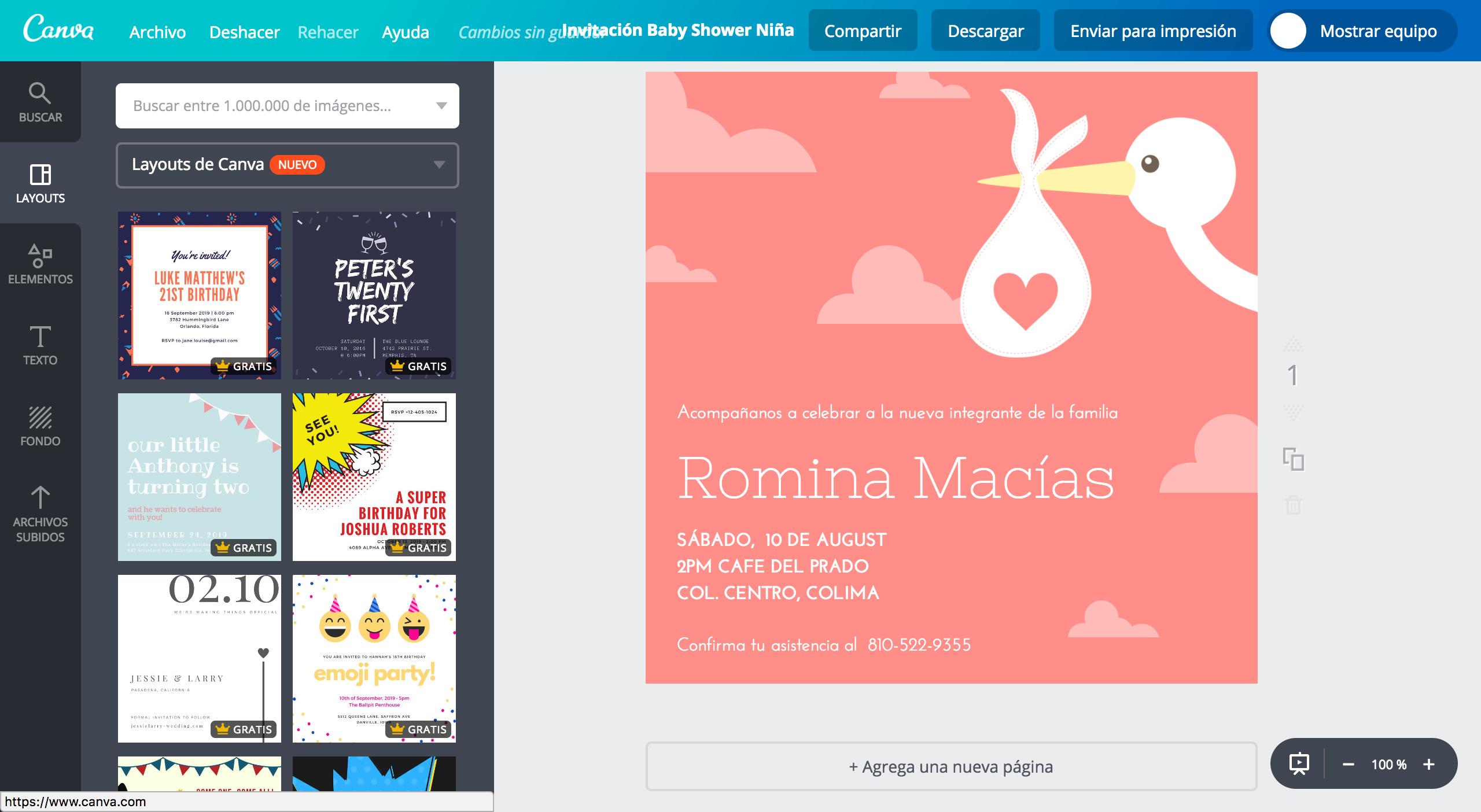 Diseña Invitaciones Para Baby Shower De Niña Gratis Canva