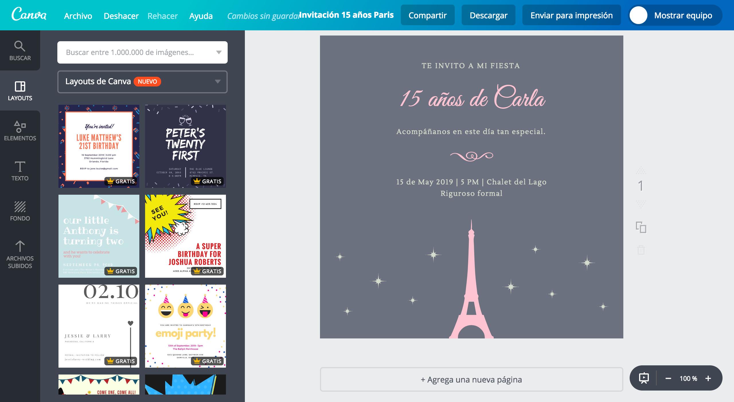 Crea Invitaciones Para Xv Años De París Gratis Canva