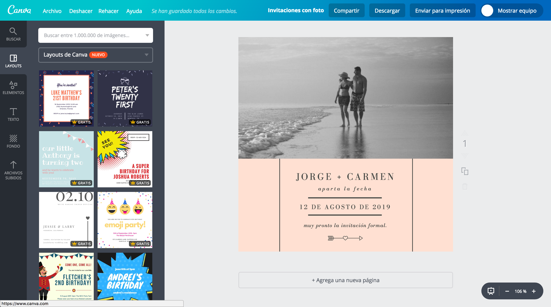 Crea invitaciones con fotos online gratis Canva