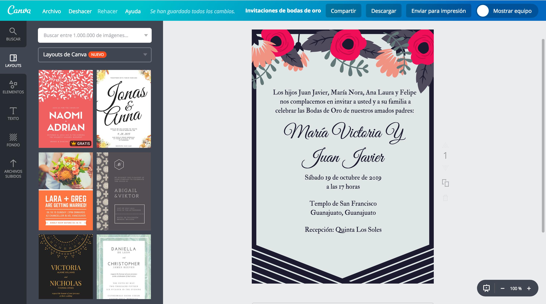 Dise a invitaciones de bodas de oro online gratis canva for Programas de decoracion online