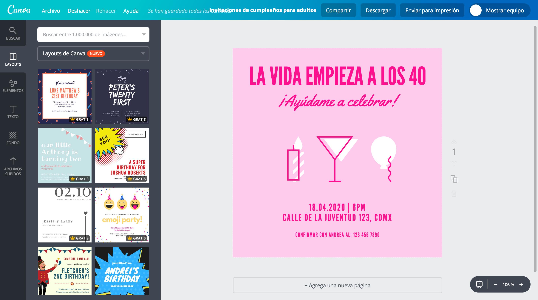 Diseña Invitaciones De Cumpleaños Para Adultos Canva
