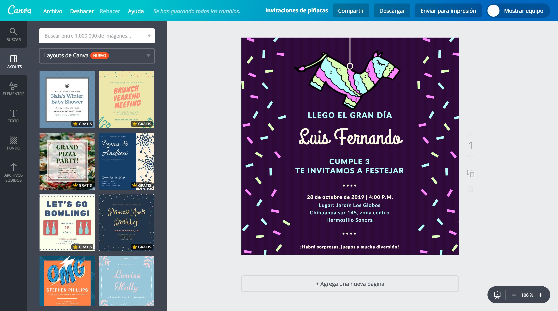 Diseña Invitaciones Para Piñatas Online Gratis Canva