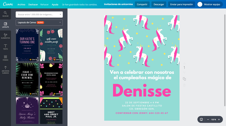 crea invitaciones de unicornios online gratis canva