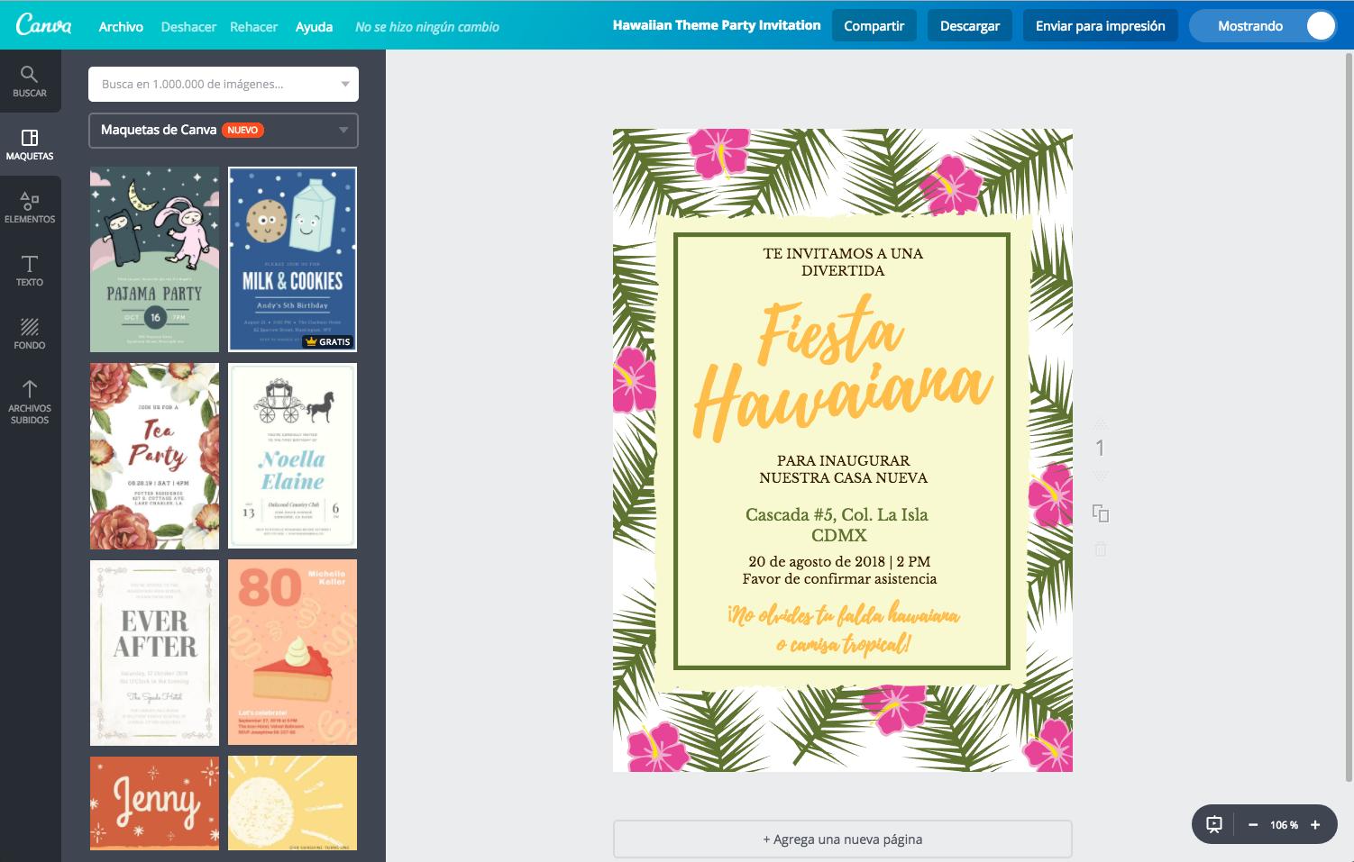 Diseña Tus Invitaciones Hawaianas Online Gratis Canva