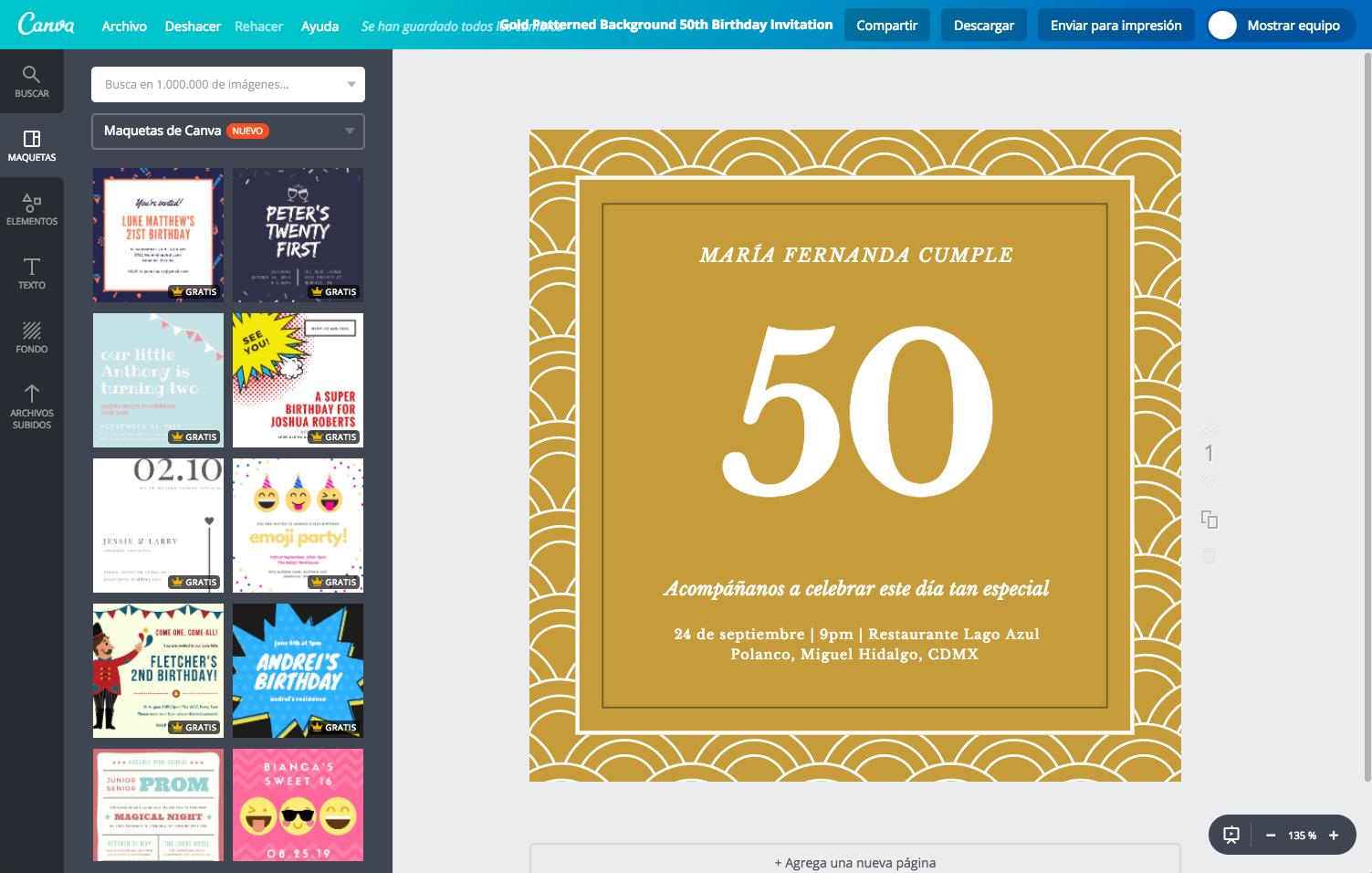 Crea Invitaciones De 50 Años Para Mujer Gratis Canva