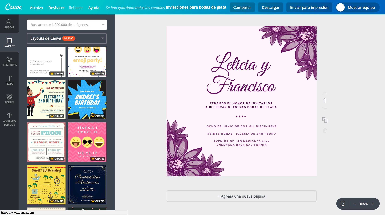 Crea Invitaciones Para Bodas De Plata Online Gratis Canva
