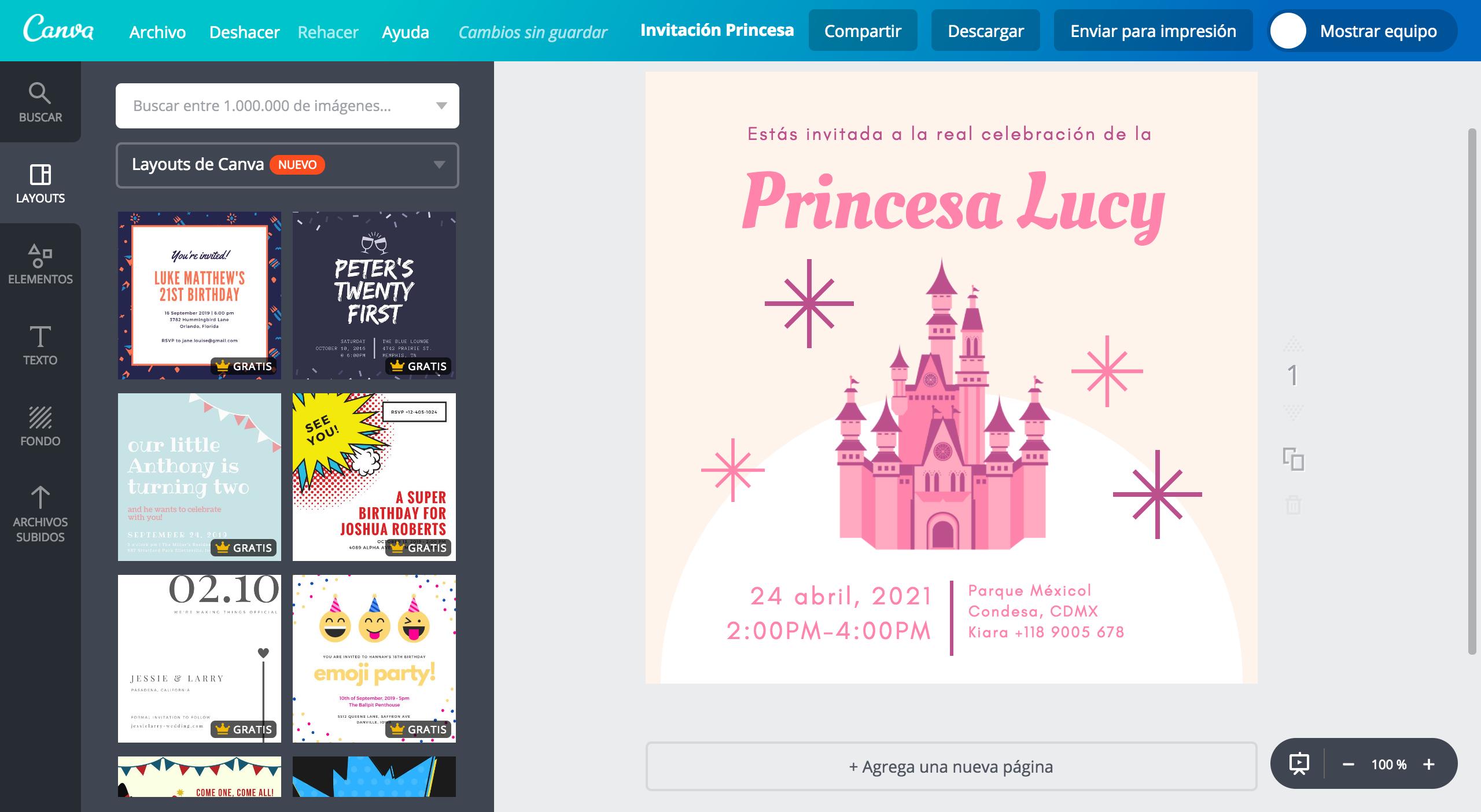 Diseña Invitaciones De Princesas Online Gratis Canva