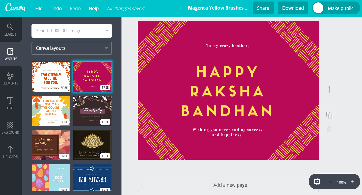 Free Custom Raksha Bandhan Card Designs By Canva