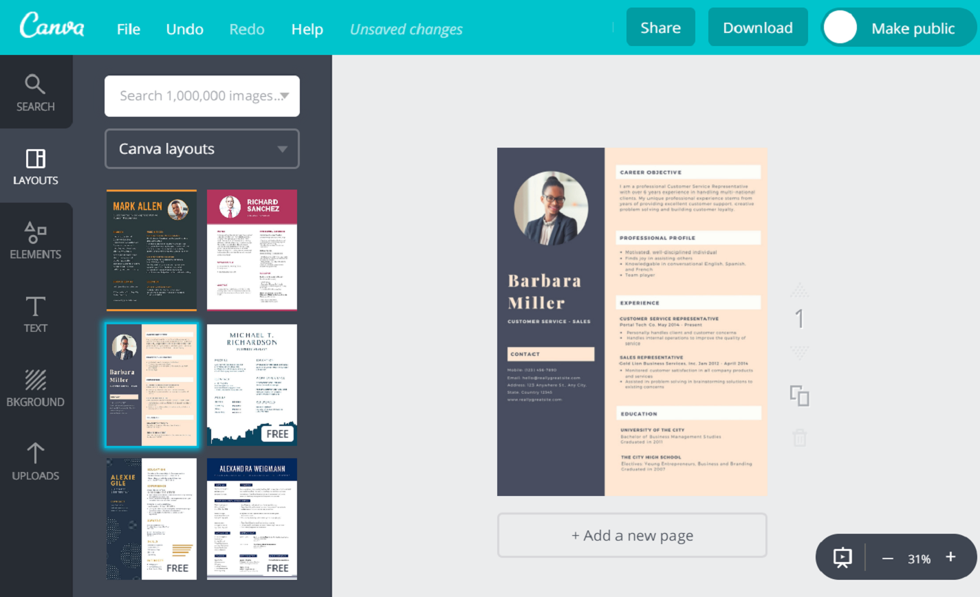 Online Resume Maker For Freshers Free By Canva