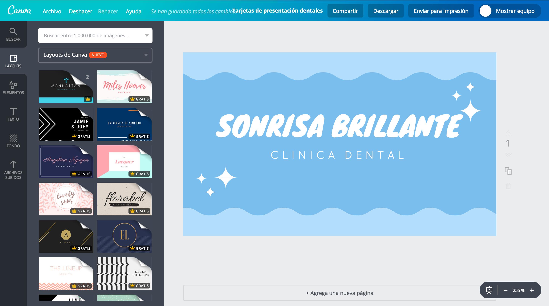 Tarjetas de presentación dentales