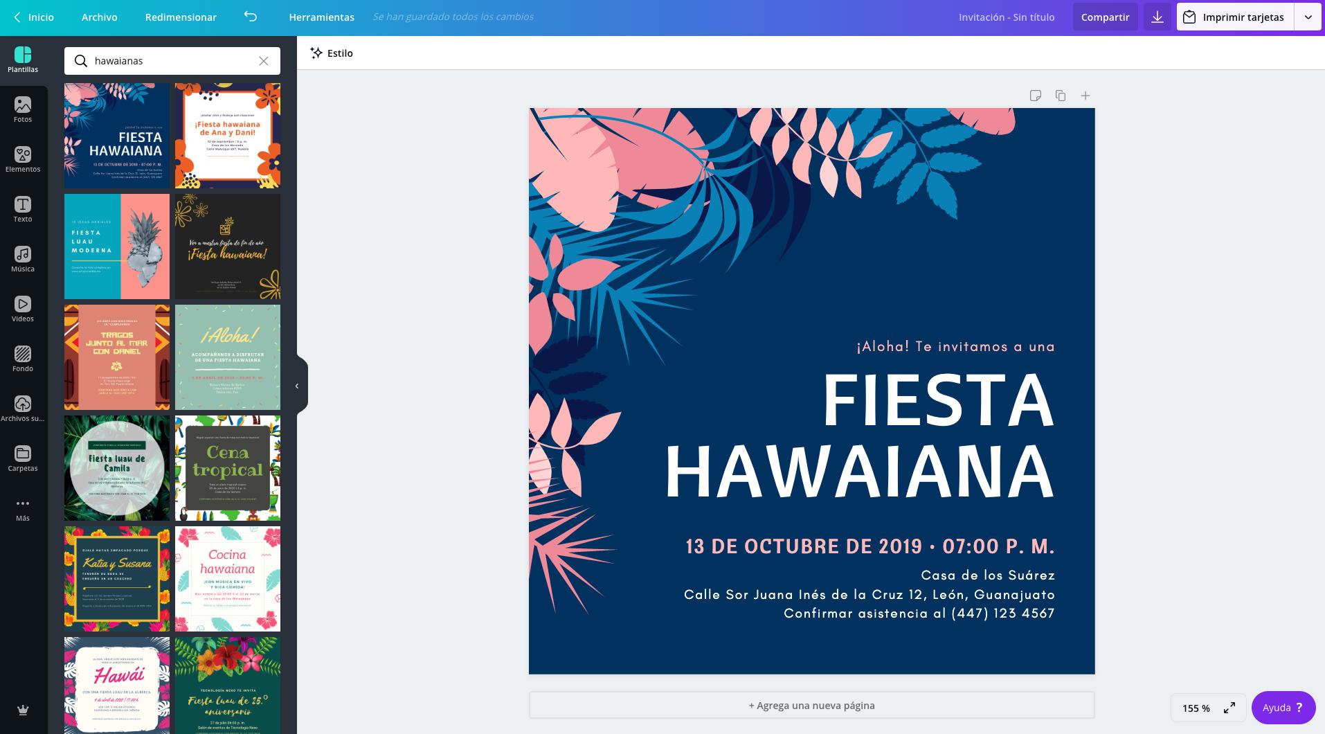 Invitaciones hawaianas
