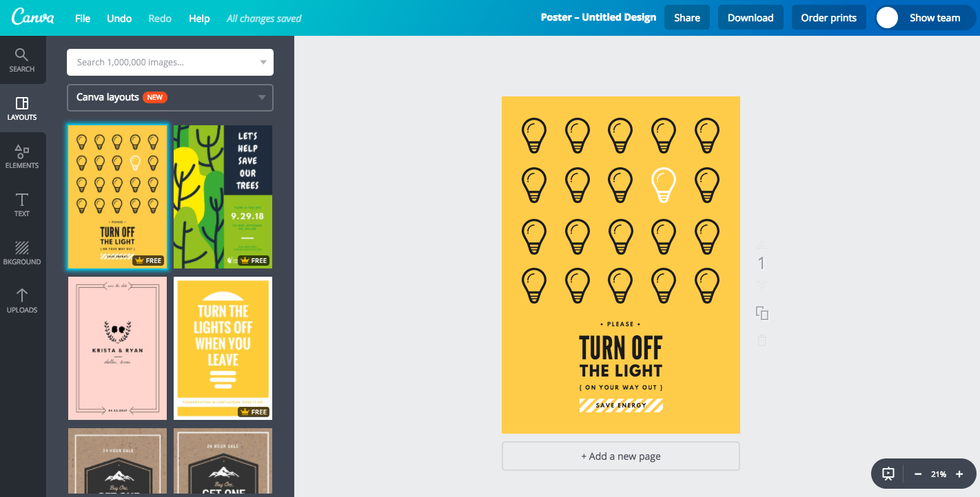 Buat Desain Poster Hemat Energi Menarik Dengan Cepat Canva