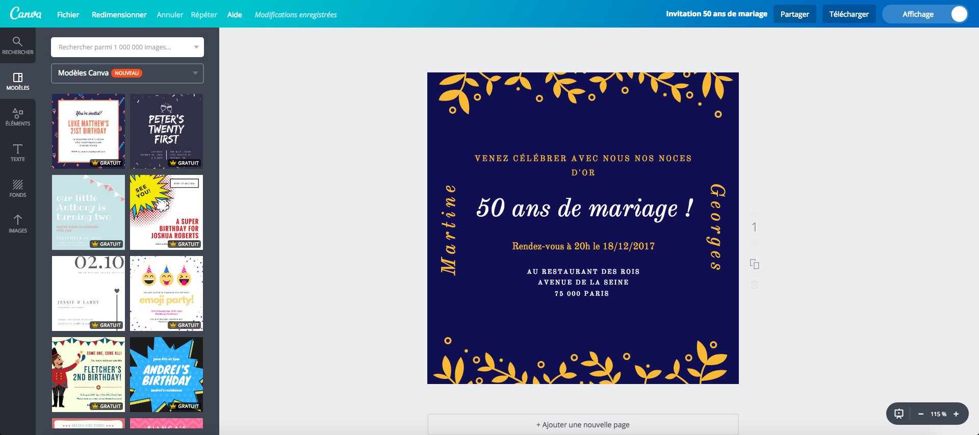 Cartes de 50 ans de mariage