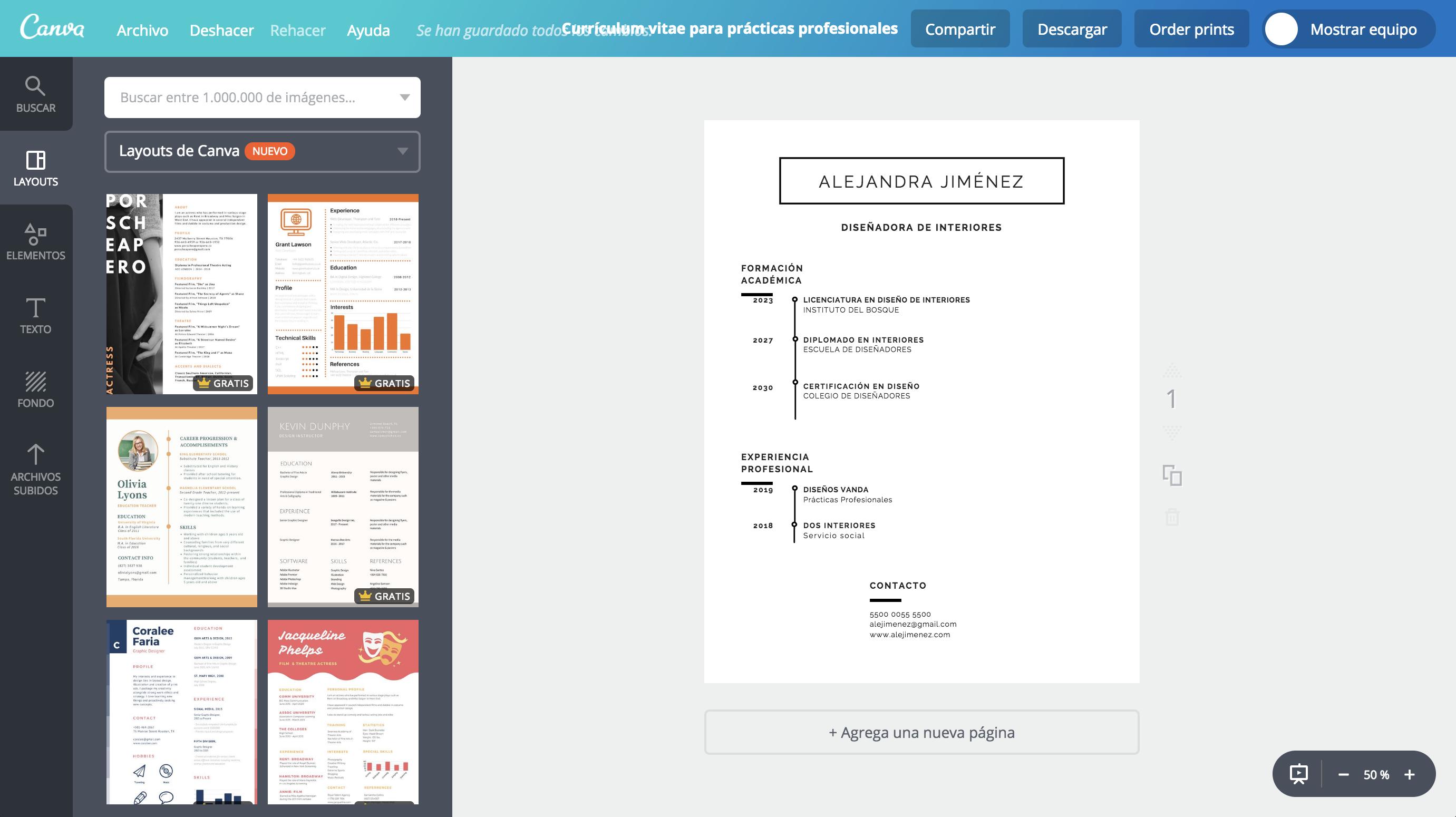 Diseña un currículum para prácticas profesionales - Canva