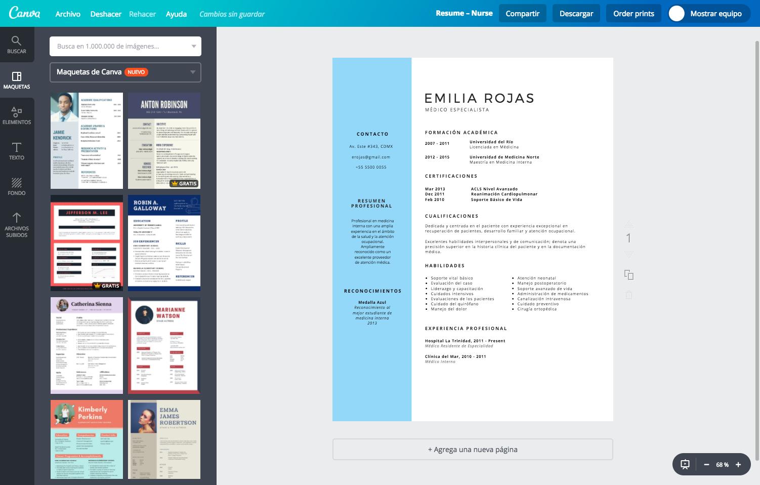 Diseña un currículum vitae médico online gratis - Canva