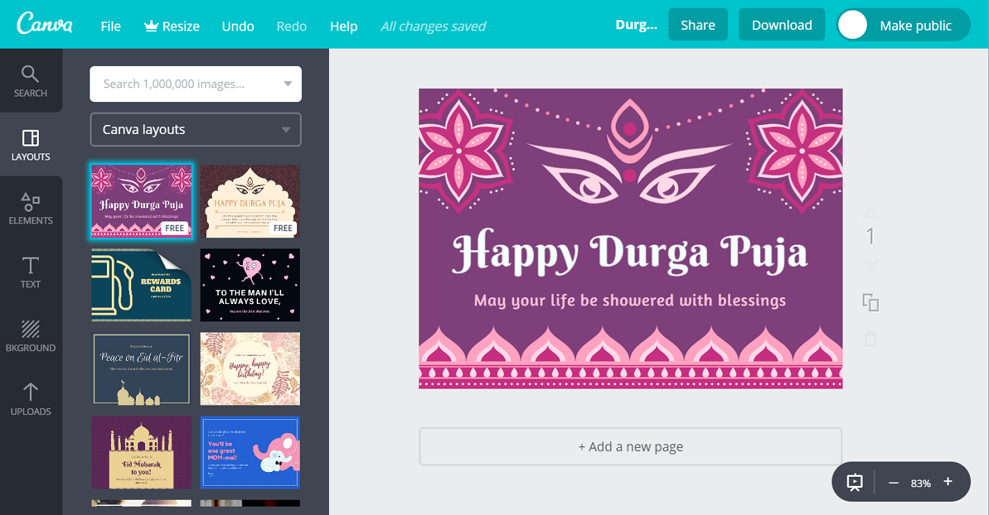 Online free durga puja greetings customizable by canva convey the blessings of goddess durga to friends family and loved ones with a beautiful card kristyandbryce Image collections