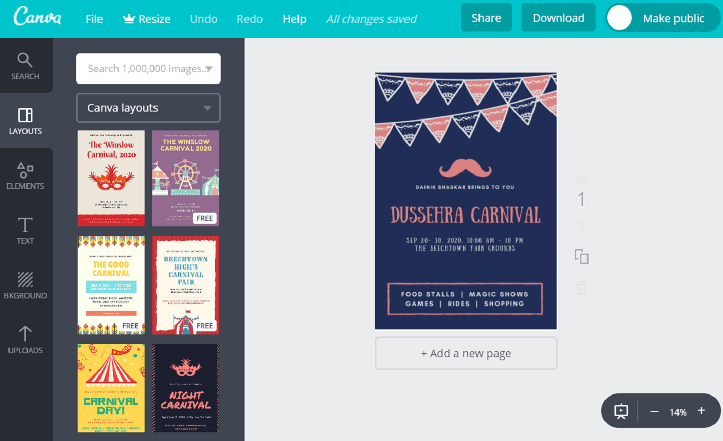 how to create a canva poster