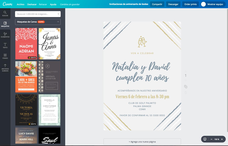 Diseña Invitaciones De Aniversario De Bodas Gratis Canva