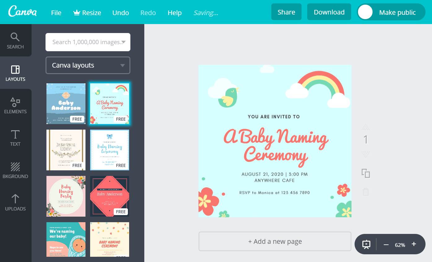Online Naming Ceremony Invitation Card Maker Free Canva