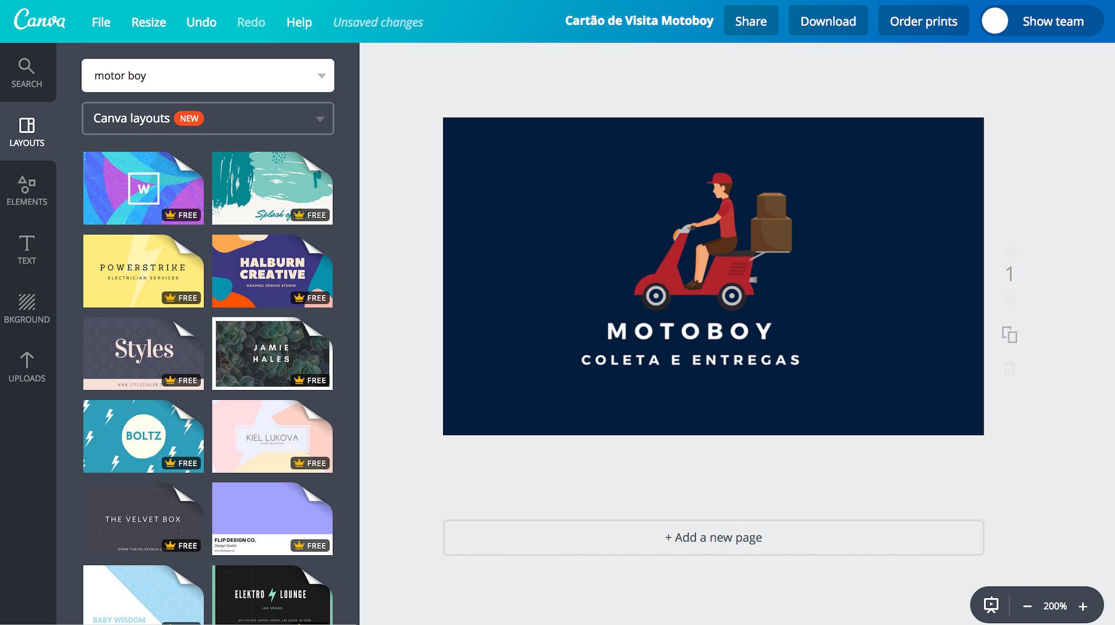 Populares Crie seu cartão de visita de motoboy online - Canva JD08