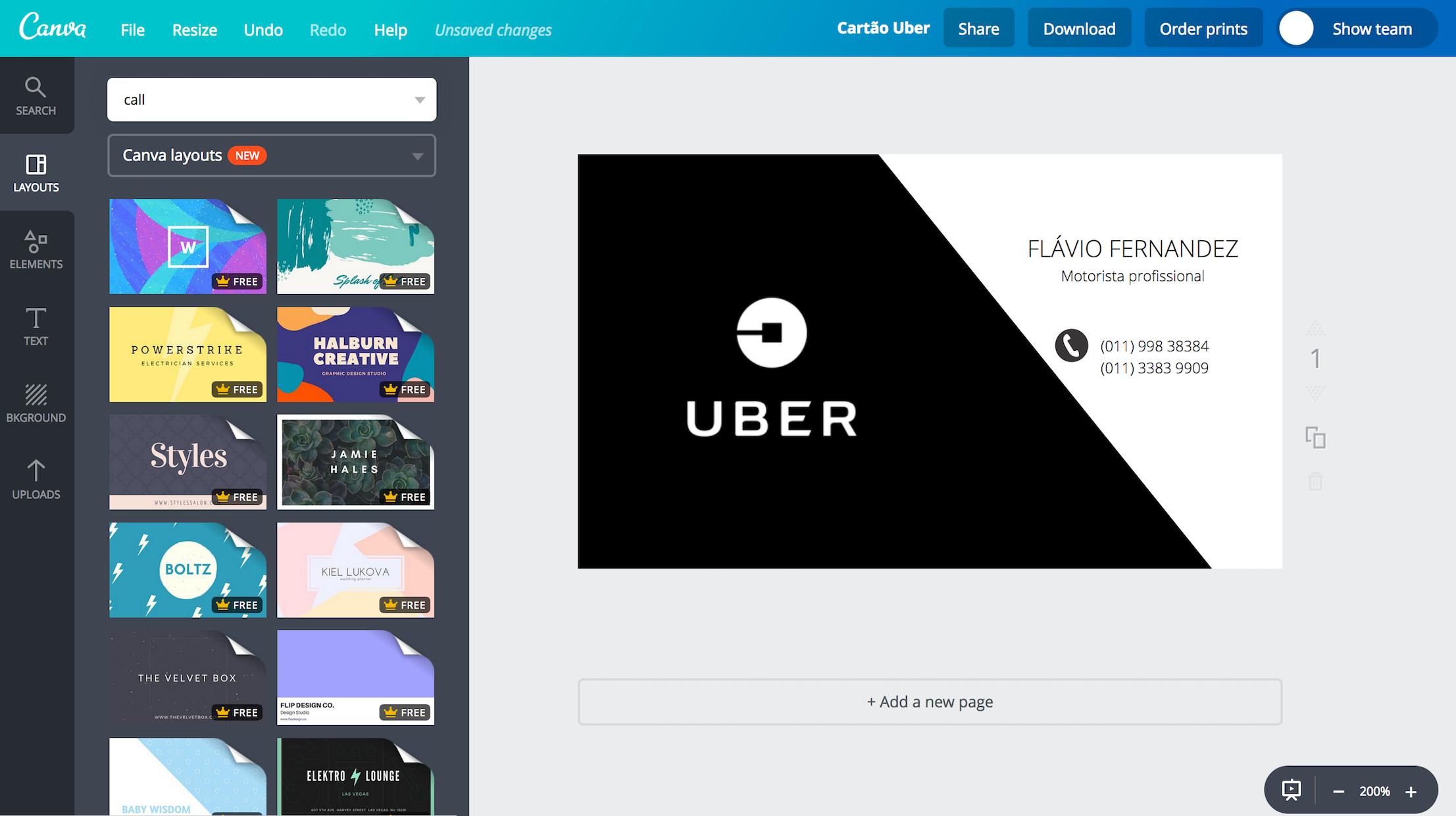 Cartão de visita para Uber