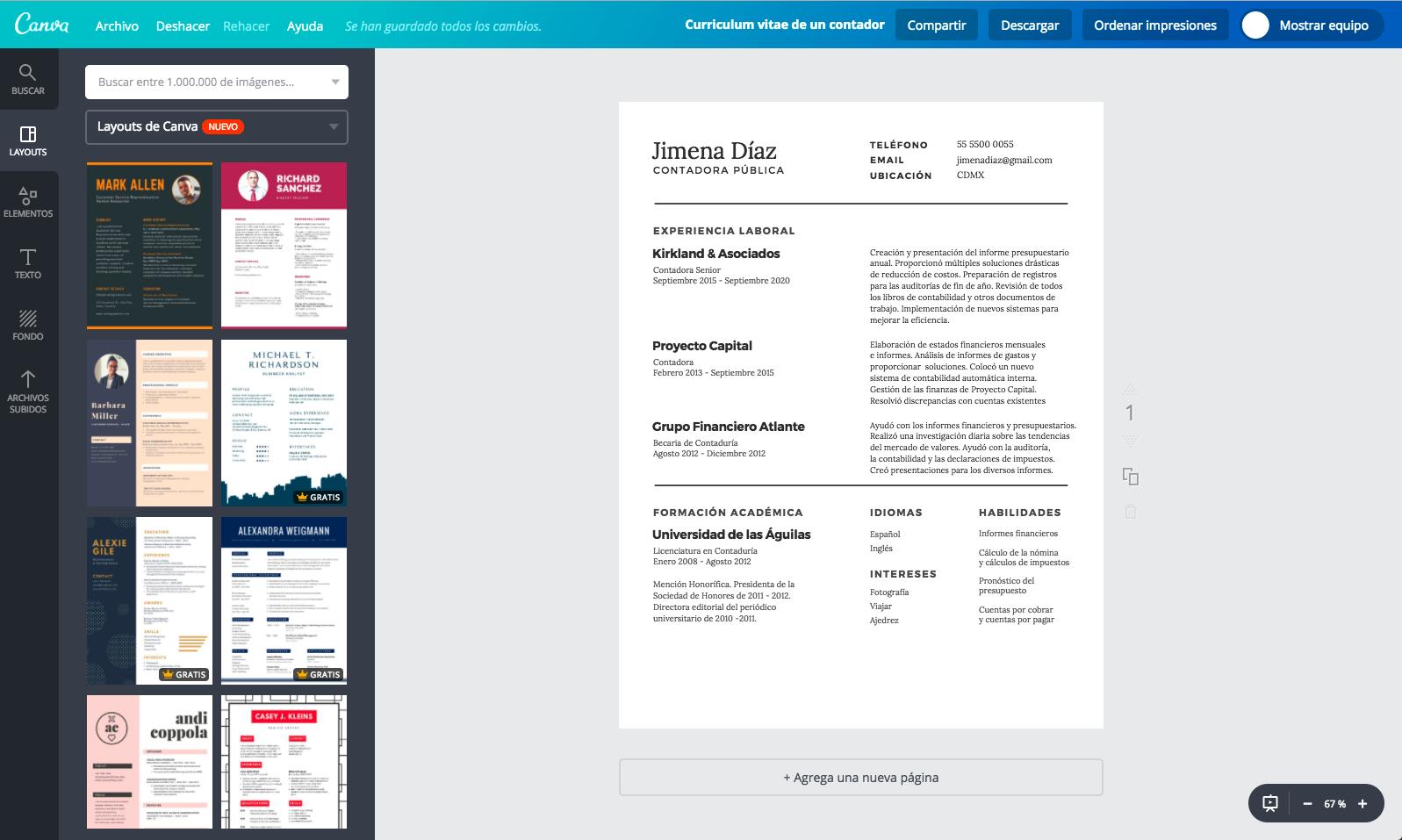 Diseña un currículum vitae de contador online gratis - Canva